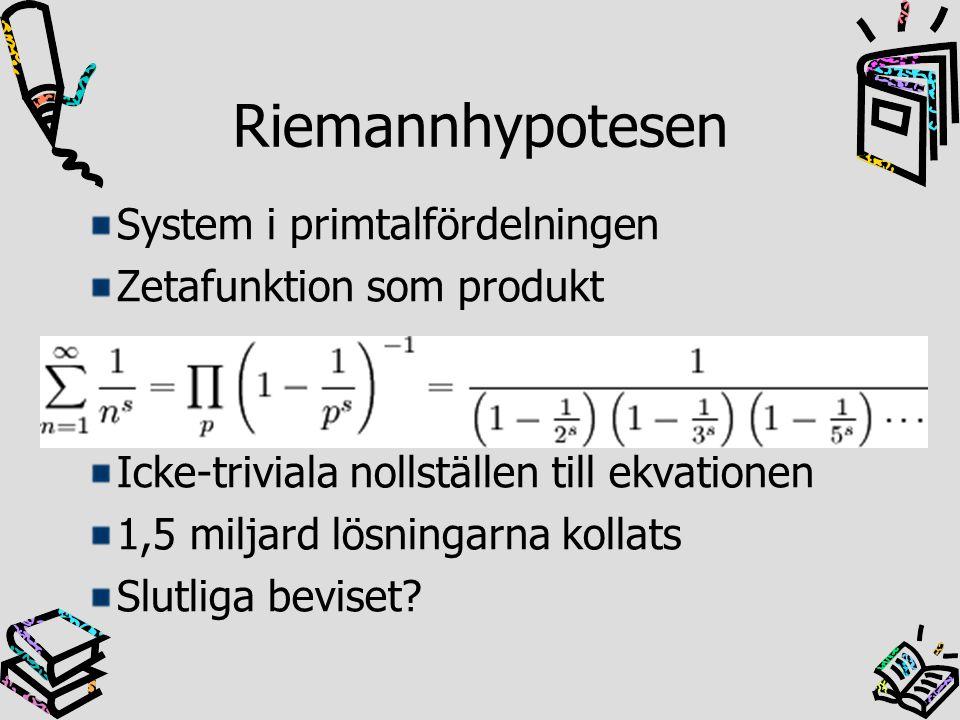 Riemannhypotesen System i primtalfördelningen Zetafunktion som produkt Icke-triviala nollställen till ekvationen 1,5 miljard lösningarna kollats Slutl