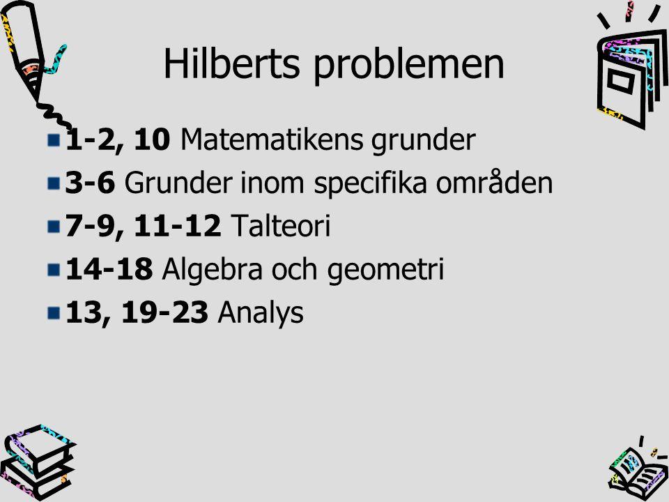 Hilberts problem nr 1 Bevisa att det inte finns något kardinaltal som ligger mellan de naturliga talens, som är uppräkneligt många, och de reella talens Kardinaltal- betecknar antalet element i en mängd Naturliga talens kardinalitet = alef 0 Reella talens kardinalitet =2^alef 0