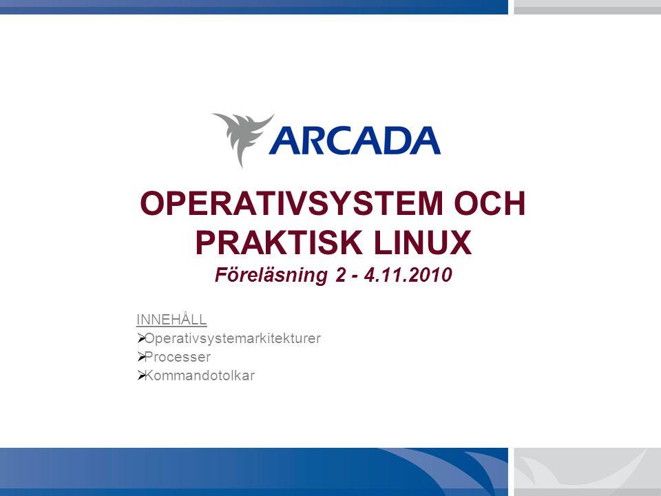 OPERATIVSYSTEM OCH PRAKTISK LINUX Föreläsning 2 - 4.11.2010 INNEHÅLL  Operativsystemarkitekturer  Processer  Kommandotolkar