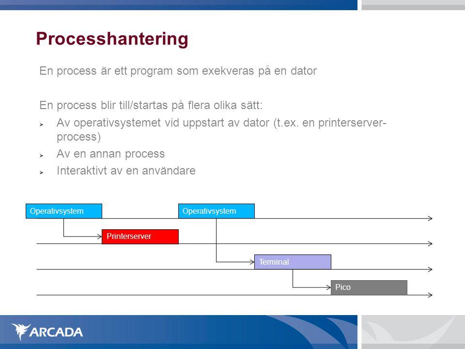 Processhantering En process är ett program som exekveras på en dator En process blir till/startas på flera olika sätt:  Av operativsystemet vid uppst