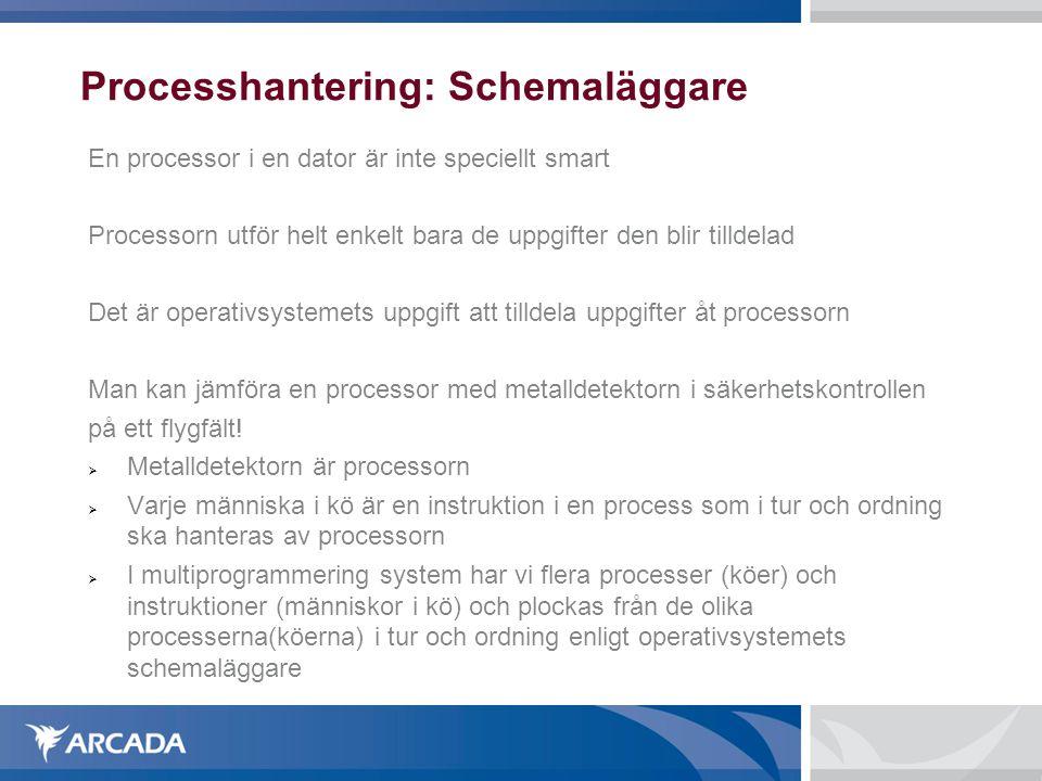 Processhantering: Schemaläggare En processor i en dator är inte speciellt smart Processorn utför helt enkelt bara de uppgifter den blir tilldelad Det