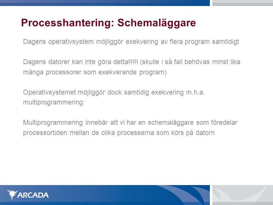 Processhantering: Schemaläggare Dagens operativsystem möjliggör exekvering av flera program samtidigt Dagens datorer kan inte göra detta!!!!! (skulle