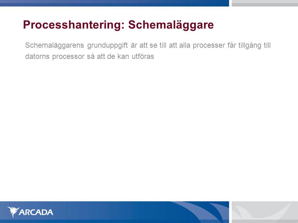 Processhantering: Schemaläggare Schemaläggarens grunduppgift är att se till att alla processer får tillgång till datorns processor så att de kan utför