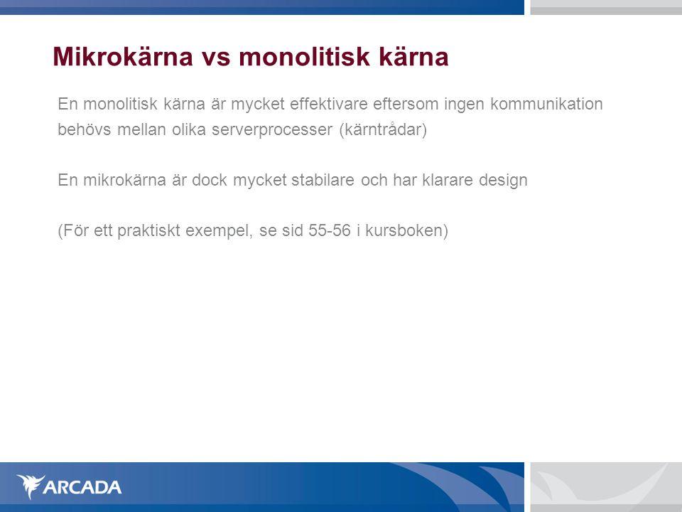 Mikrokärna vs monolitisk kärna En monolitisk kärna är mycket effektivare eftersom ingen kommunikation behövs mellan olika serverprocesser (kärntrådar)