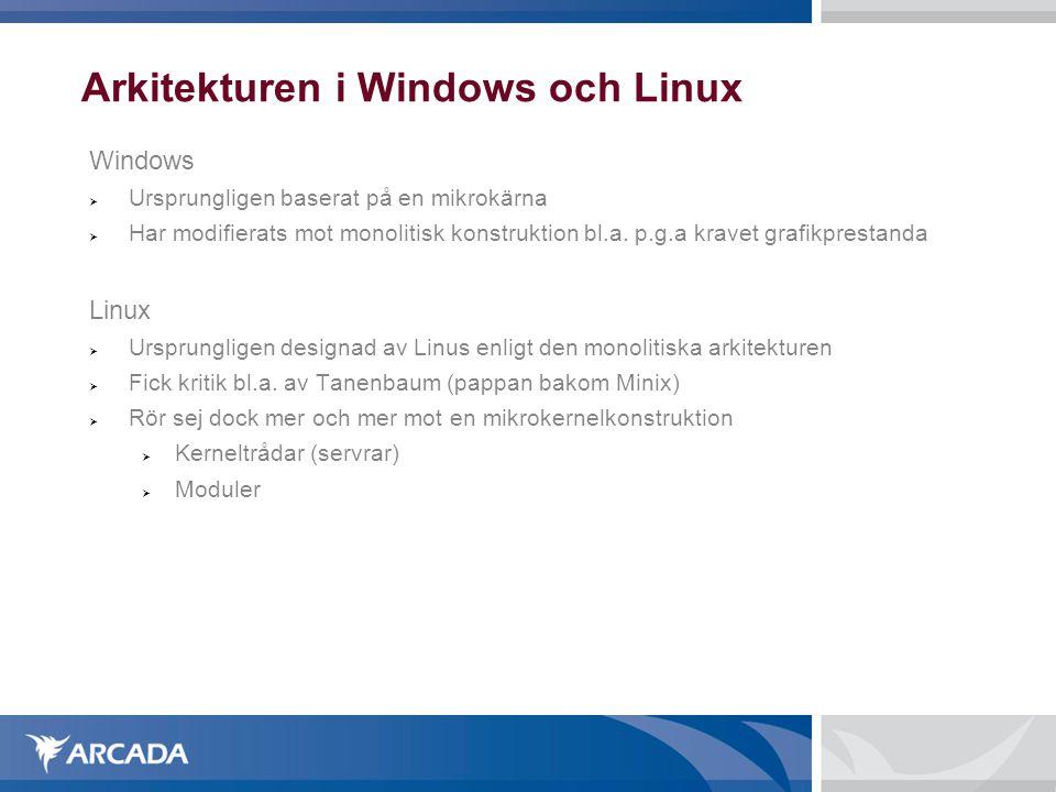 Arkitekturen i Windows och Linux Windows  Ursprungligen baserat på en mikrokärna  Har modifierats mot monolitisk konstruktion bl.a. p.g.a kravet gra