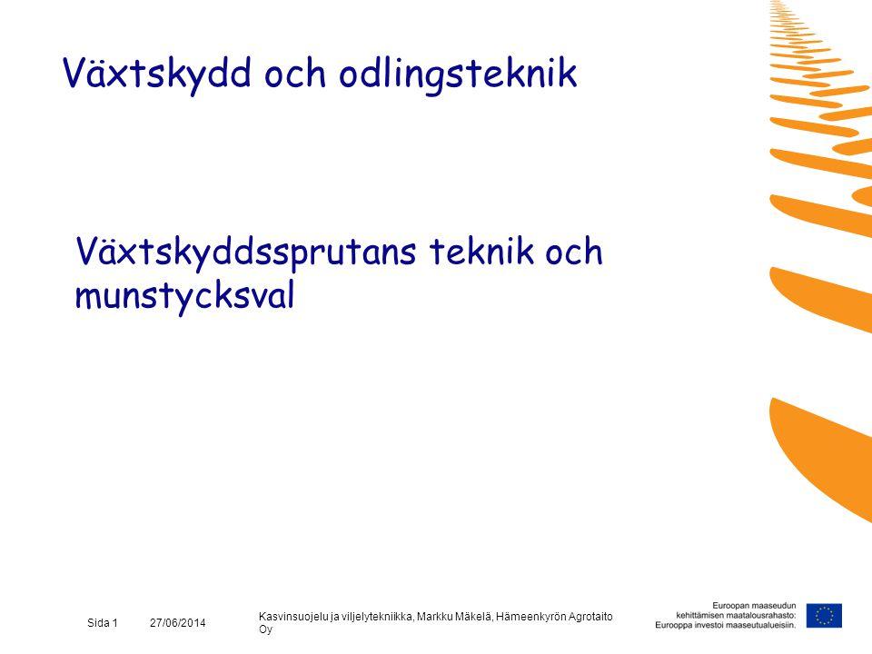 Kasvinsuojelu ja viljelytekniikka, Markku Mäkelä, Hämeenkyrön Agrotaito Oy Sida 12 27/06/2014 Test på egen hand •Väsentligare för miljön och sprutningens slutresultat än offentlig test med fem års intervall •Provdrift med rent vatten - läckage åtgärdas och kontroll av reglerutrustningens funktion •Mätning av munstyckenas kapacitet (klocka och mätkärl) - vid differens över 10 % jfrt med tabellvärden är munstyckena slitna eller tryckmätaren defekt •Okulär bedömning av spridningens jämnhet Växtskydd och odlingsteknik