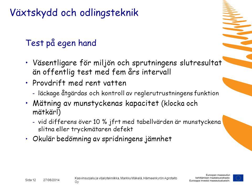 Kasvinsuojelu ja viljelytekniikka, Markku Mäkelä, Hämeenkyrön Agrotaito Oy Sida 12 27/06/2014 Test på egen hand •Väsentligare för miljön och sprutning