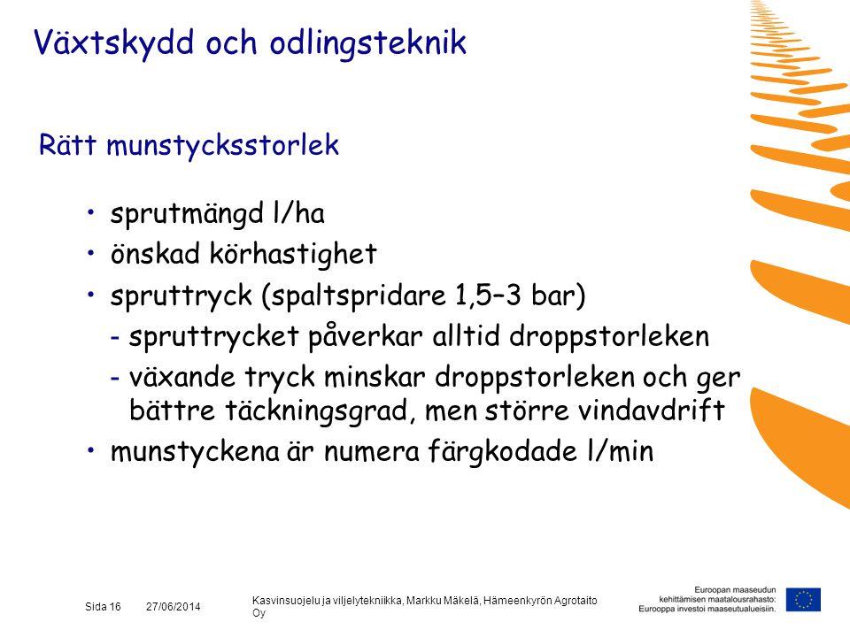 Kasvinsuojelu ja viljelytekniikka, Markku Mäkelä, Hämeenkyrön Agrotaito Oy Sida 16 27/06/2014 Rätt munstycksstorlek •sprutmängd l/ha •önskad körhastig
