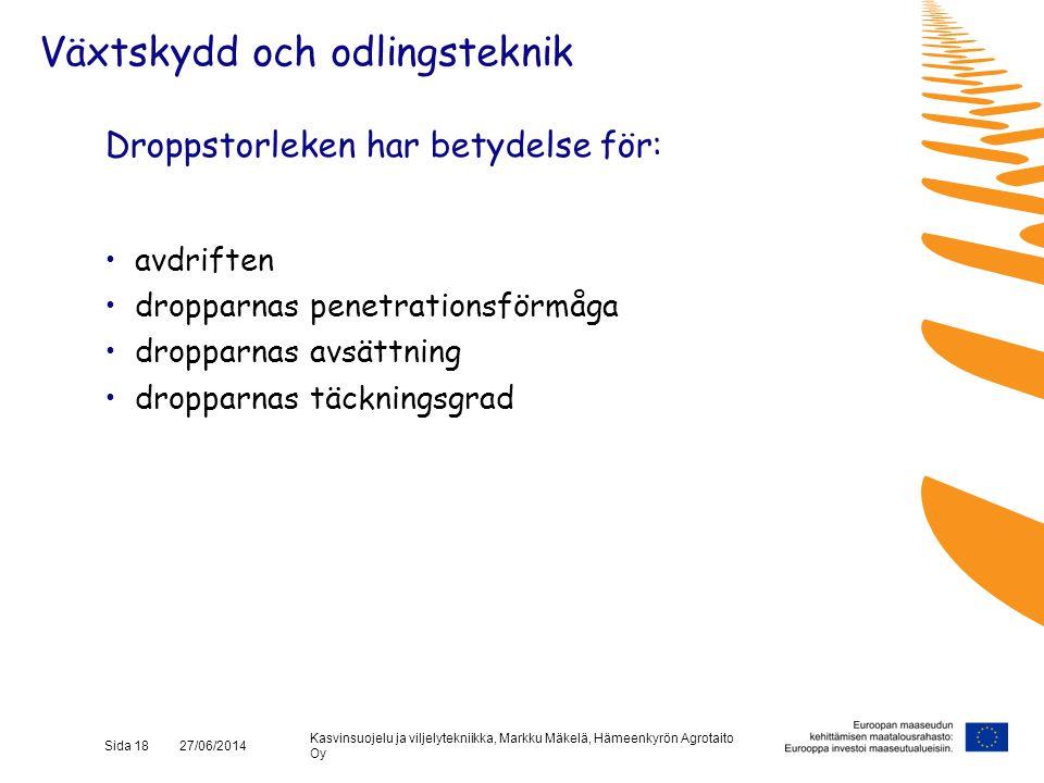 Kasvinsuojelu ja viljelytekniikka, Markku Mäkelä, Hämeenkyrön Agrotaito Oy Sida 18 27/06/2014 Droppstorleken har betydelse för: •avdriften •dropparnas