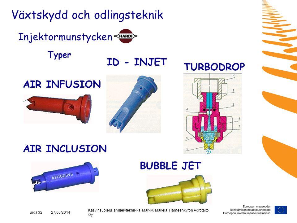 Kasvinsuojelu ja viljelytekniikka, Markku Mäkelä, Hämeenkyrön Agrotaito Oy Sida 32 27/06/2014 Typer ID - INJET TURBODROP Injektormunstycken BUBBLE JET