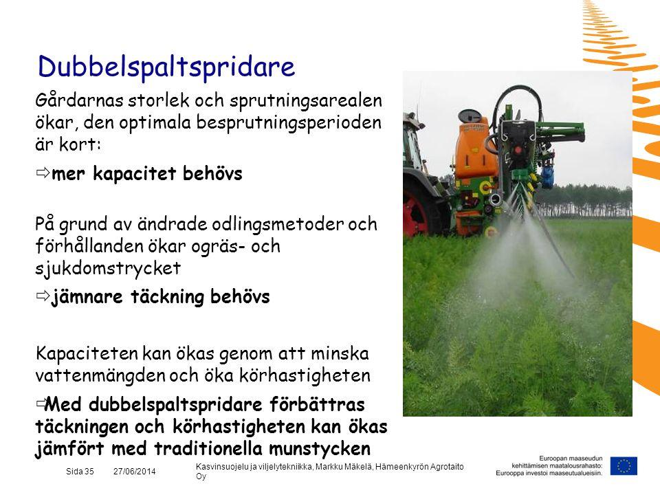 Kasvinsuojelu ja viljelytekniikka, Markku Mäkelä, Hämeenkyrön Agrotaito Oy Sida 35 27/06/2014 Dubbelspaltspridare Gårdarnas storlek och sprutningsarea