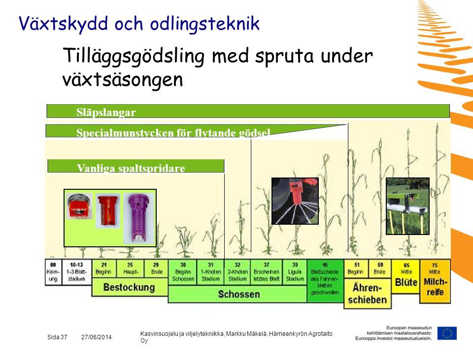 Kasvinsuojelu ja viljelytekniikka, Markku Mäkelä, Hämeenkyrön Agrotaito Oy Sida 37 27/06/2014 Tilläggsgödsling med spruta under växtsäsongen Specialmu