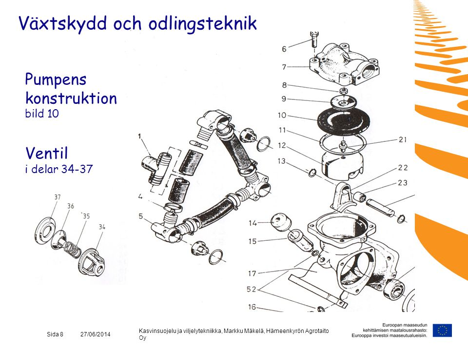 Kasvinsuojelu ja viljelytekniikka, Markku Mäkelä, Hämeenkyrön Agrotaito Oy Sida 8 27/06/2014 Pumpens konstruktion bild 10 Ventil i delar 34-37 Växtsky