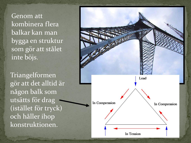 Genom att kombinera flera balkar kan man bygga en struktur som gör att stålet inte böjs. Triangelformen gör att det alltid är någon balk som utsätts f