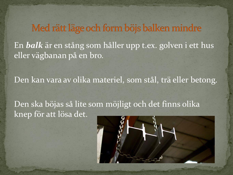 En balk är en stång som håller upp t.ex. golven i ett hus eller vägbanan på en bro. Den kan vara av olika materiel, som stål, trä eller betong. Den sk