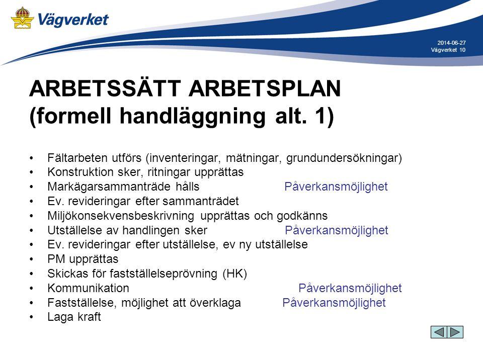 10Vägverket 2014-06-27 ARBETSSÄTT ARBETSPLAN (formell handläggning alt. 1) •Fältarbeten utförs (inventeringar, mätningar, grundundersökningar) •Konstr