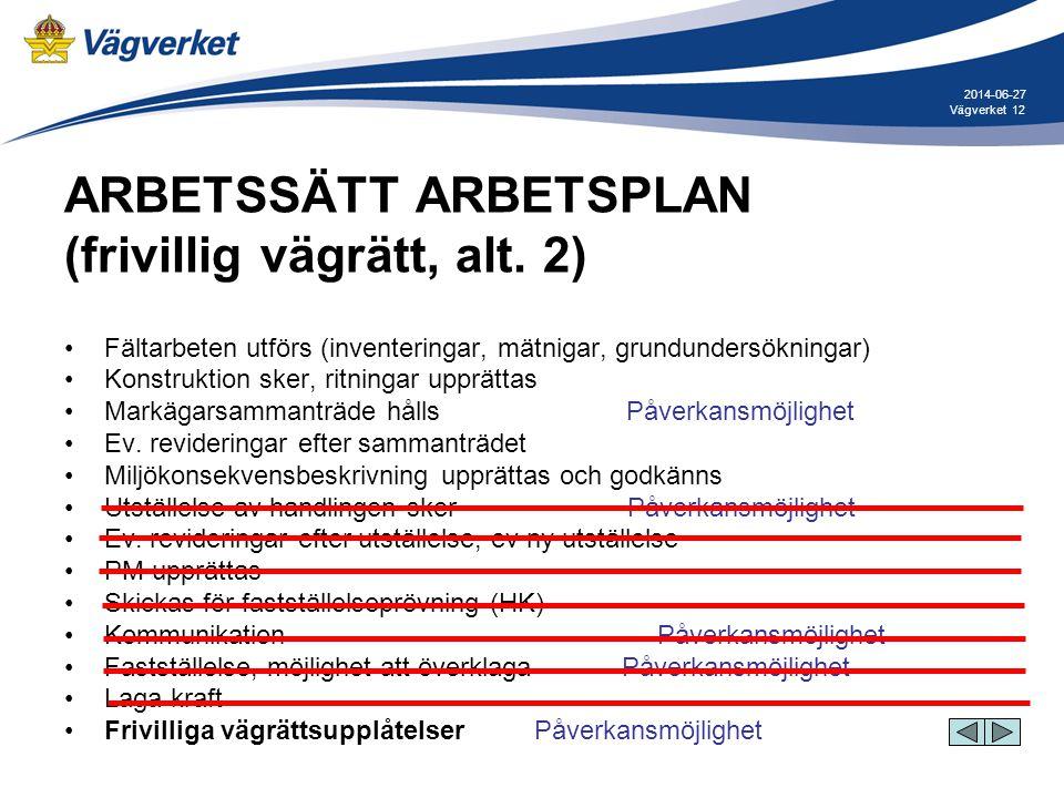 12Vägverket 2014-06-27 ARBETSSÄTT ARBETSPLAN (frivillig vägrätt, alt. 2) •Fältarbeten utförs (inventeringar, mätnigar, grundundersökningar) •Konstrukt