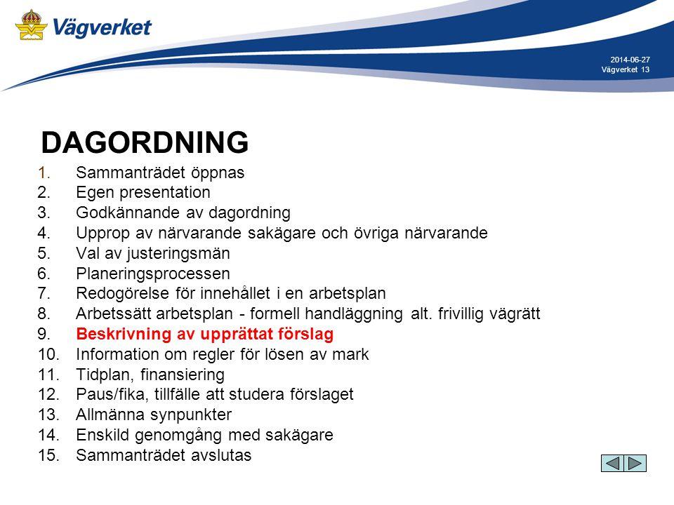 13Vägverket 2014-06-27 DAGORDNING 1. Sammanträdet öppnas 2. Egen presentation 3. Godkännande av dagordning 4. Upprop av närvarande sakägare och övriga