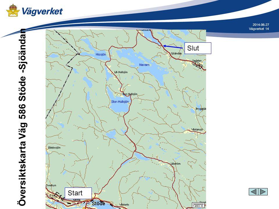 14Vägverket 2014-06-27 Översiktskarta Väg 586 Stöde -Sjöändan Start Slut Start Slut