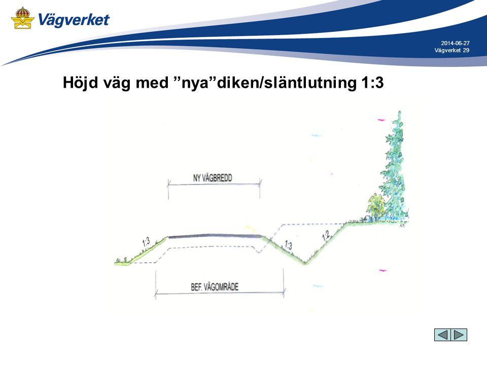 """29Vägverket 2014-06-27 Höjd väg med """"nya""""diken/släntlutning 1:3"""