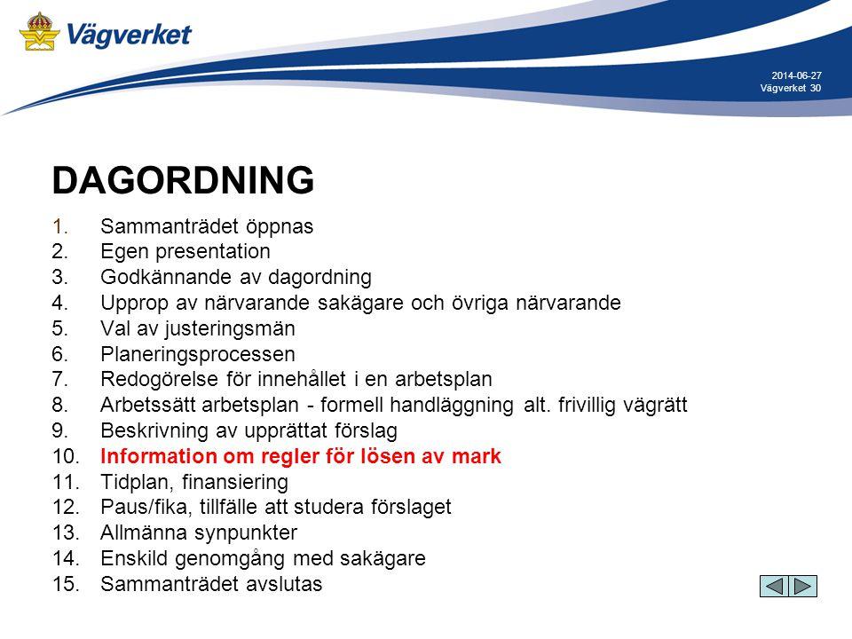 30Vägverket 2014-06-27 DAGORDNING 1. Sammanträdet öppnas 2. Egen presentation 3. Godkännande av dagordning 4. Upprop av närvarande sakägare och övriga