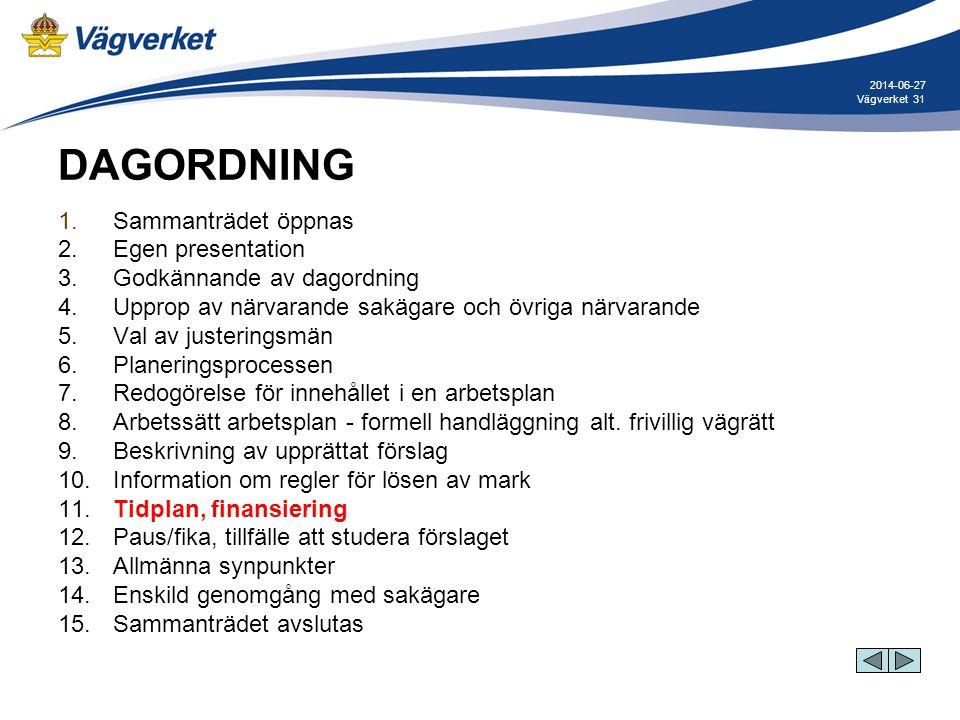 31Vägverket 2014-06-27 DAGORDNING 1. Sammanträdet öppnas 2. Egen presentation 3. Godkännande av dagordning 4. Upprop av närvarande sakägare och övriga