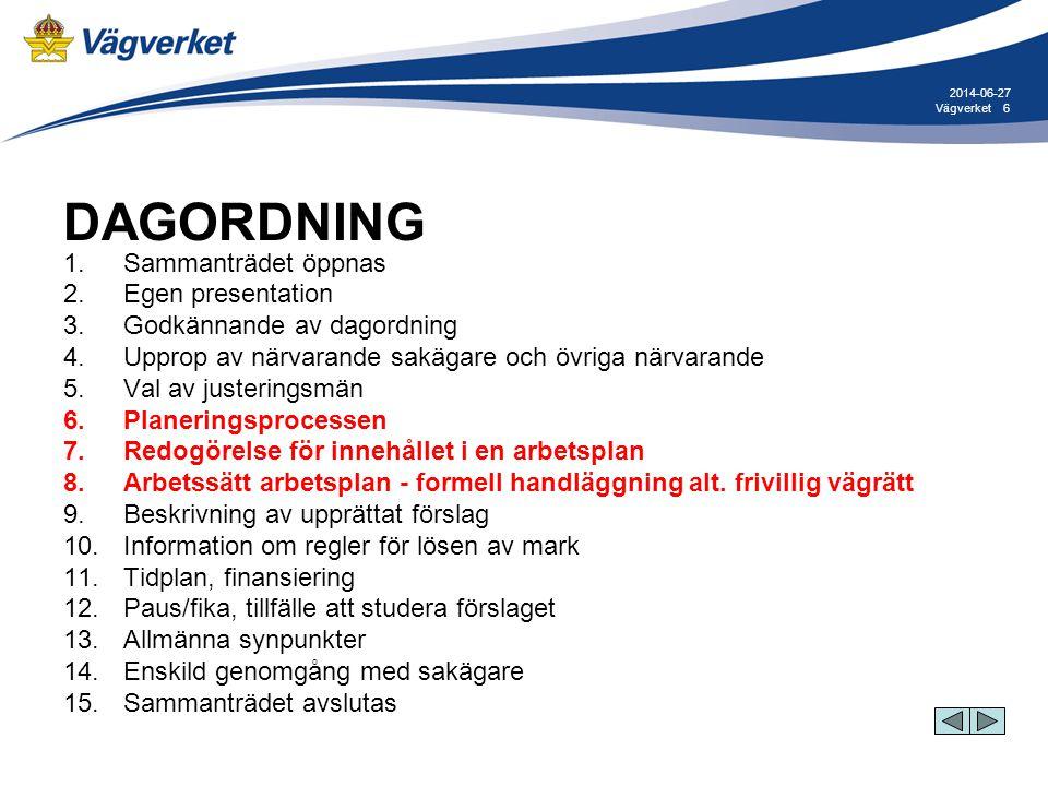6Vägverket 2014-06-27 DAGORDNING 1. Sammanträdet öppnas 2. Egen presentation 3. Godkännande av dagordning 4. Upprop av närvarande sakägare och övriga