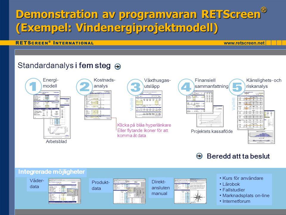 Demonstration av programvaran RETScreen ® (Exempel: Vindenergiprojektmodell) Standardanalys i fem steg Energi- modell Kostnads- analys Växthusgas- utsläpp Finansiell sammanfattning Känslighets- och riskanalys Beredd att ta beslut Integrerade möjligheter Väder- data Produkt- data Direkt- ansluten manual • Kurs för användare • Lärobok • Fallstudier • Marknadsplats on-line • Internetforum Klicka på blåa hyperlänkare Eller flytande ikoner för att komma åt data Projektets kassaflöde Arbetsblad Valfritt