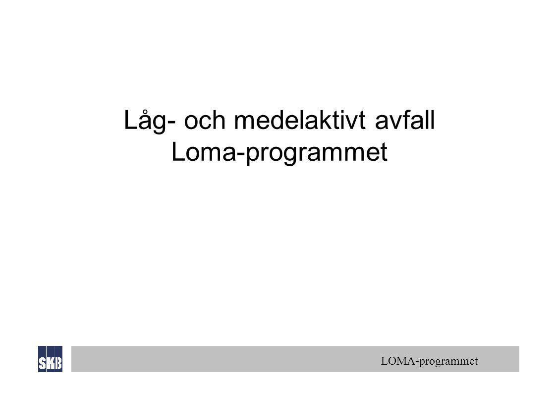 LOMA-programmet Låg- och medelaktivt avfall Loma-programmet