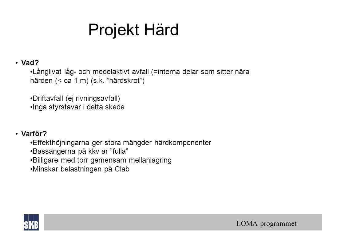 """LOMA-programmet Projekt Härd •Vad? •Långlivat låg- och medelaktivt avfall (=interna delar som sitter nära härden (< ca 1 m) (s.k. """"härdskrot"""") •Drifta"""