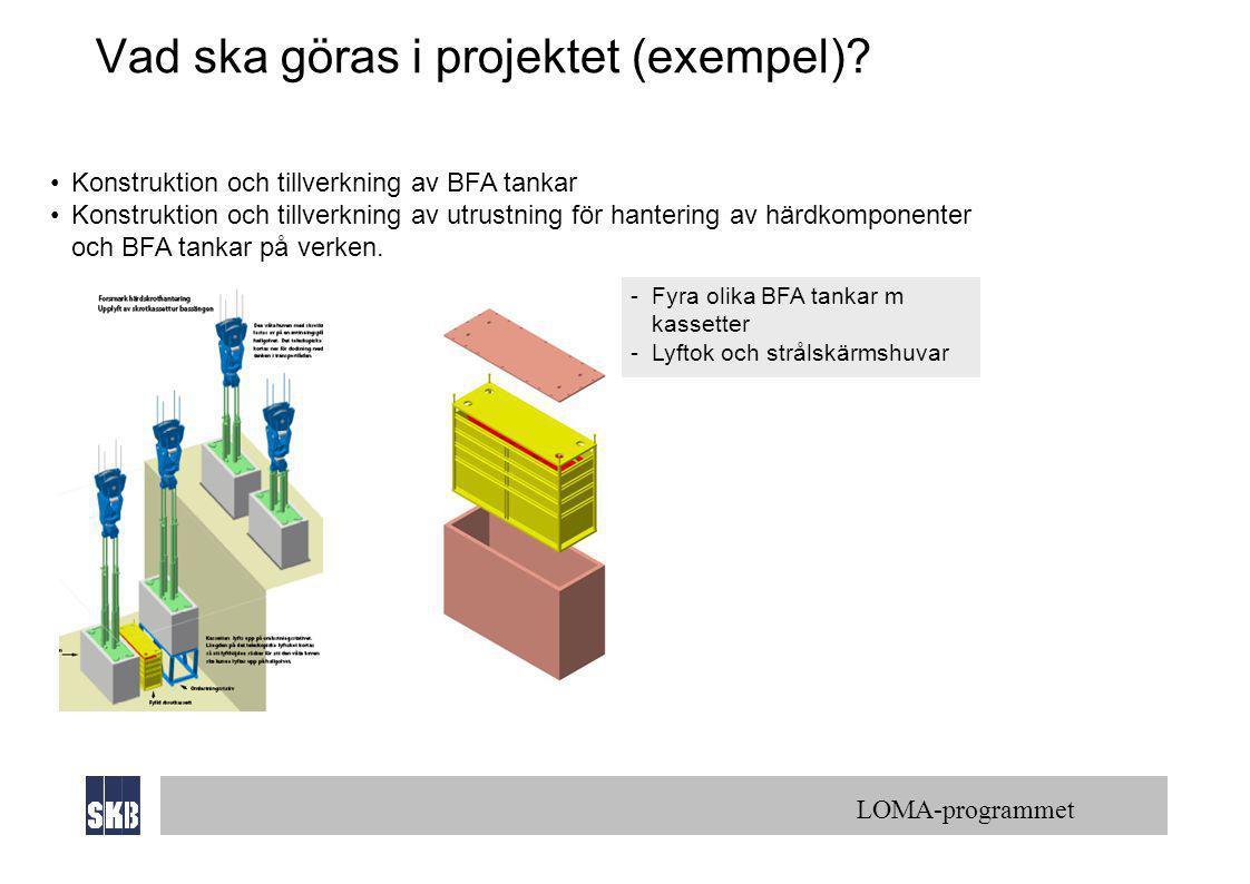 LOMA-programmet Vad ska göras i projektet (exempel)? •Konstruktion och tillverkning av BFA tankar •Konstruktion och tillverkning av utrustning för han