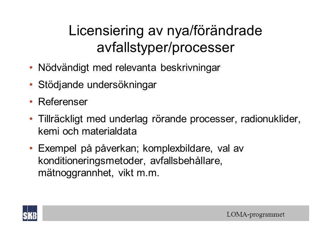 LOMA-programmet Licensiering av nya/förändrade avfallstyper/processer •Nödvändigt med relevanta beskrivningar •Stödjande undersökningar •Referenser •T