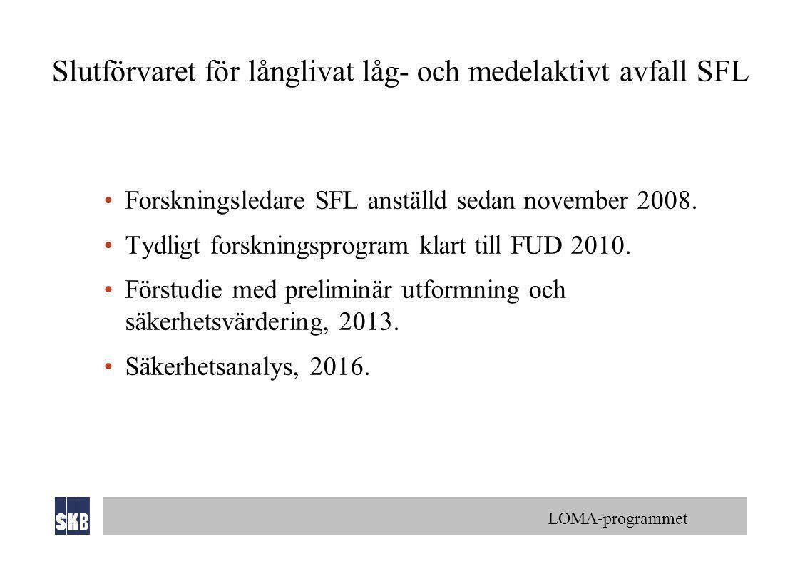 LOMA-programmet Slutförvaret för långlivat låg- och medelaktivt avfall SFL •Forskningsledare SFL anställd sedan november 2008. •Tydligt forskningsprog