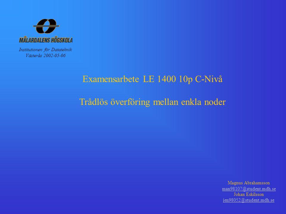 Examensarbete LE 1400 10p C-Nivå Trådlös överföring mellan enkla noder Magnus Abrahamsson man98107@student.mdh.se Johan Eskilsson jen98052@student.mdh