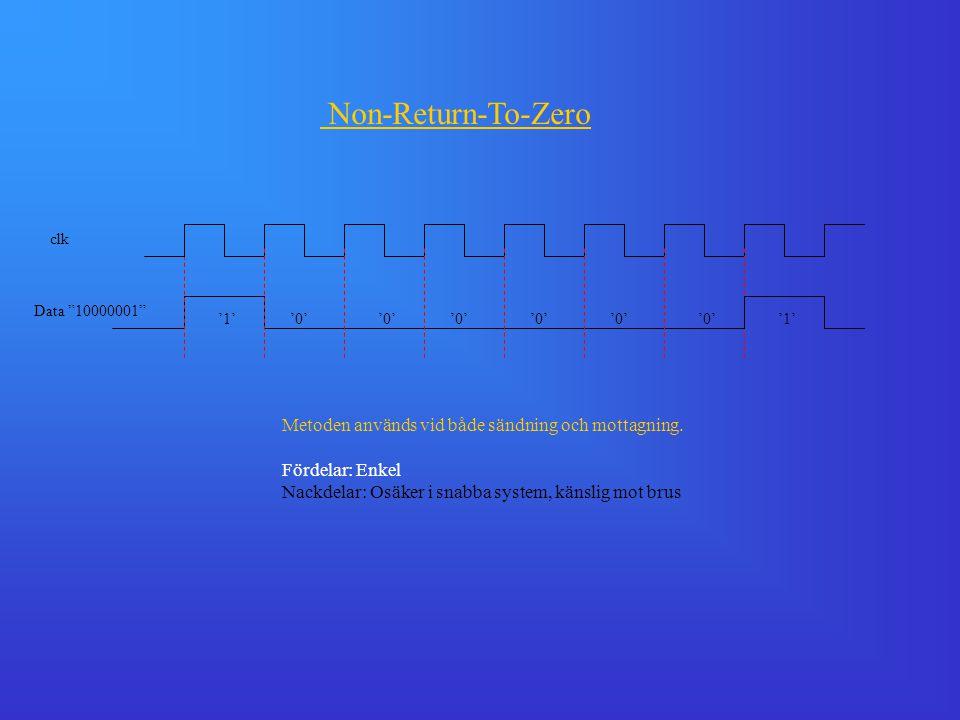"""clk Data """"10000001"""" '1''0' '1' Metoden används vid både sändning och mottagning. Fördelar: Enkel Nackdelar: Osäker i snabba system, känslig mot brus N"""