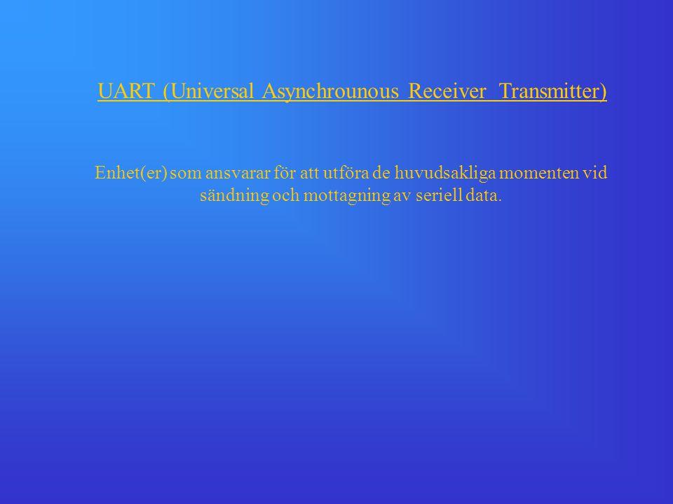 UART (Universal Asynchrounous Receiver Transmitter) Enhet(er) som ansvarar för att utföra de huvudsakliga momenten vid sändning och mottagning av seri