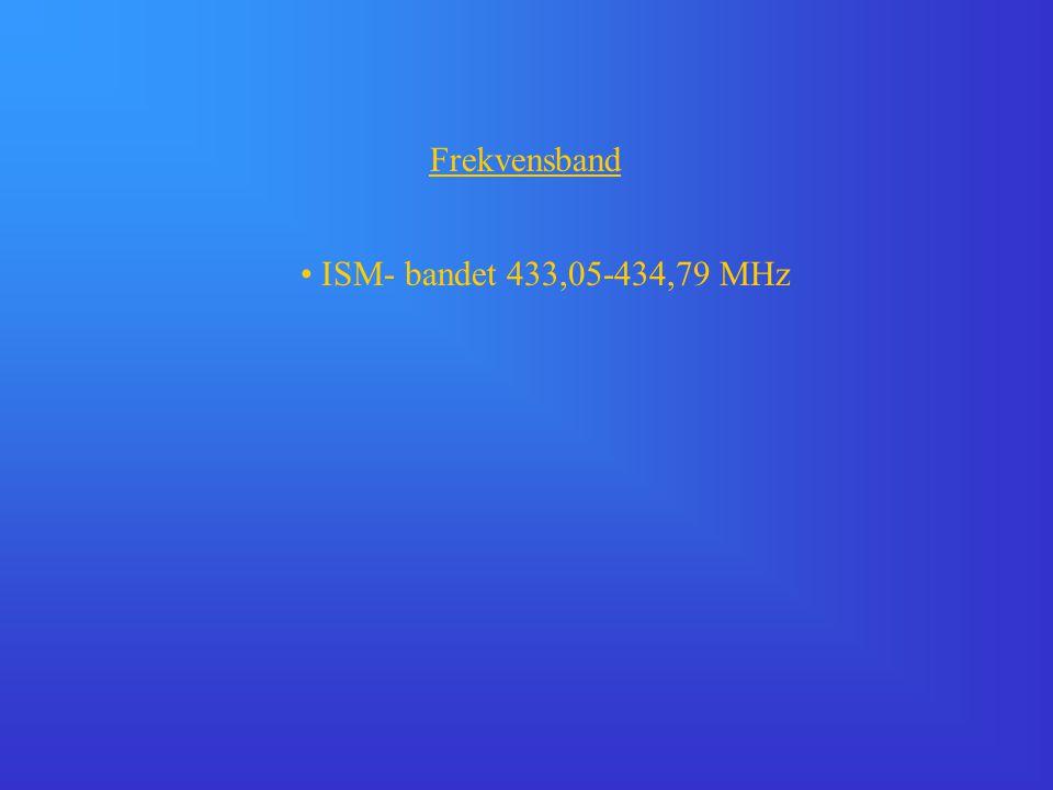 Frekvensband • ISM- bandet 433,05-434,79 MHz