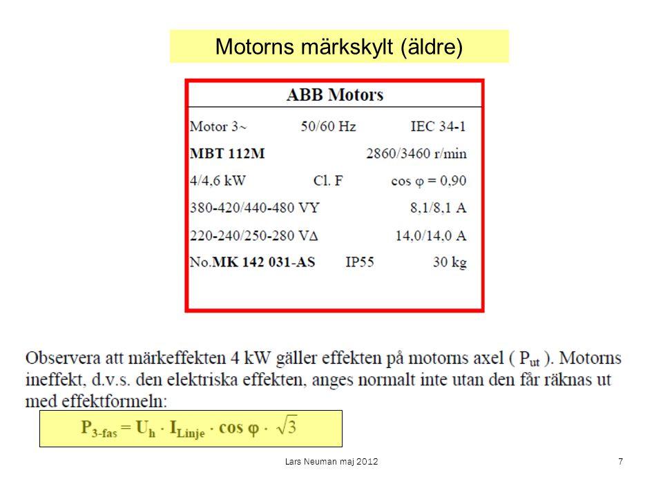 Lars Neuman maj 20128 3-faskopplingar Y- eller stjärnkoppling D- eller triangelkoppling Huvudspänning