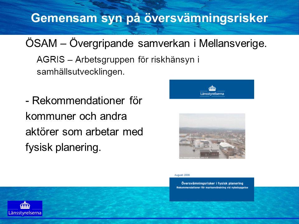 Gemensam syn på översvämningsrisker ÖSAM – Övergripande samverkan i Mellansverige. AGRIS – Arbetsgruppen för riskhänsyn i samhällsutvecklingen. - Reko