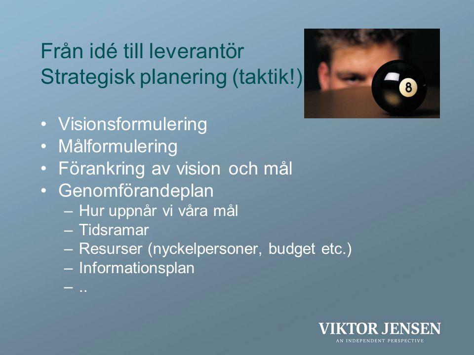 Från idé till leverantör Strategisk planering (taktik!) •Visionsformulering •Målformulering •Förankring av vision och mål •Genomförandeplan –Hur uppnå