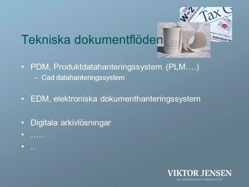 Tekniska dokumentflöden •PDM, Produktdatahanteringssystem (PLM….) –Cad datahanteringssystem •EDM, elektroniska dokumenthanteringssystem •Digitala arki