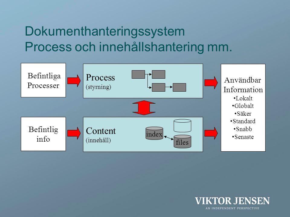 Dokumenthanteringssystem Process och innehållshantering mm. Process (styrning) Content (innehåll) index files Befintlig info Befintliga Processer Anvä