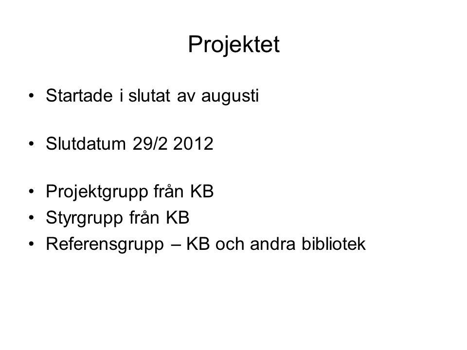 Projektet •Startade i slutat av augusti •Slutdatum 29/2 2012 •Projektgrupp från KB •Styrgrupp från KB •Referensgrupp – KB och andra bibliotek
