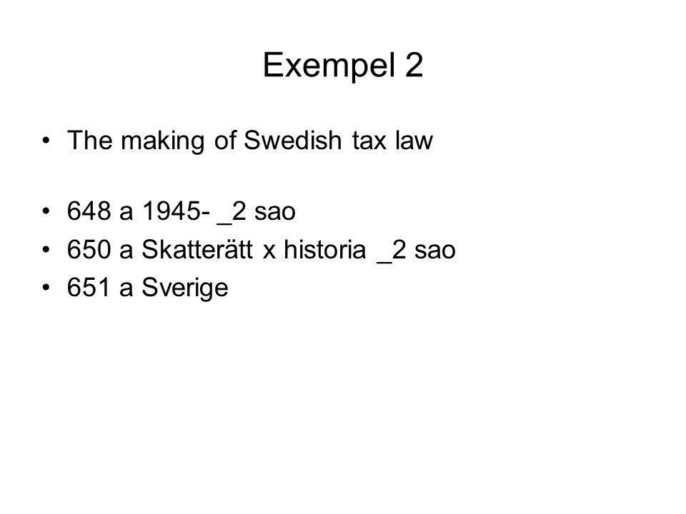 Exempel 2 •The making of Swedish tax law •648 a 1945- _2 sao •650 a Skatterätt x historia _2 sao •651 a Sverige