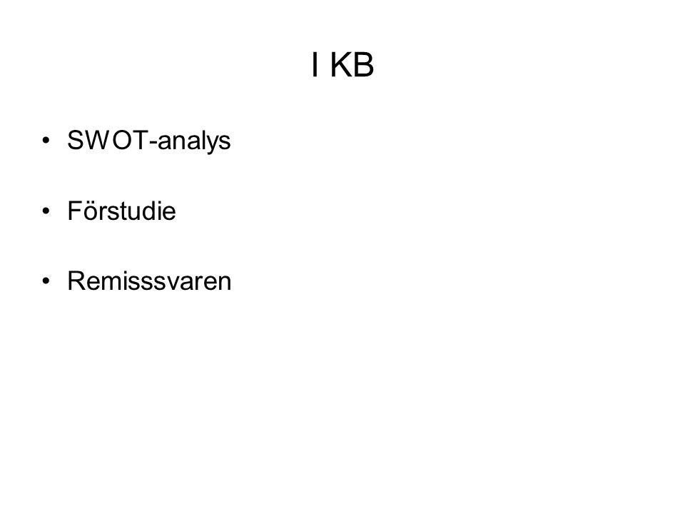I KB •SWOT-analys •Förstudie •Remisssvaren