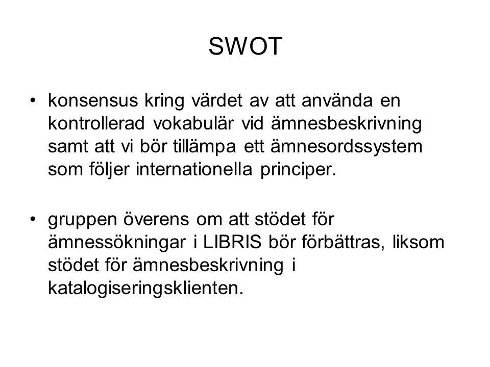 SWOT •konsensus kring värdet av att använda en kontrollerad vokabulär vid ämnesbeskrivning samt att vi bör tillämpa ett ämnesordssystem som följer internationella principer.