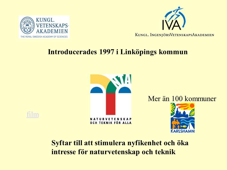 Mer än 100 kommuner Introducerades 1997 i Linköpings kommun Syftar till att stimulera nyfikenhet och öka intresse för naturvetenskap och teknik film