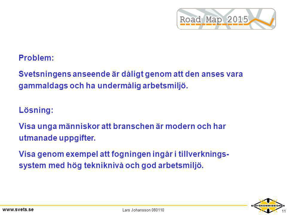 Lars Johansson 080110 www.svets.se 11 Problem: Svetsningens anseende är dåligt genom att den anses vara gammaldags och ha undermålig arbetsmiljö. Lösn