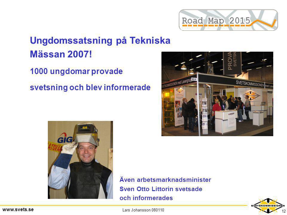 Lars Johansson 080110 www.svets.se 12 Ungdomssatsning på Tekniska Mässan 2007! 1000 ungdomar provade svetsning och blev informerade Även arbetsmarknad