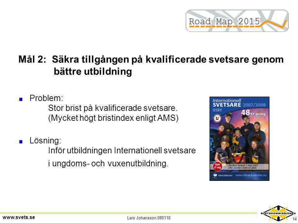 Lars Johansson 080110 www.svets.se 14 Mål 2: Säkra tillgången på kvalificerade svetsare genom bättre utbildning Problem: Stor brist på kvalificerade s